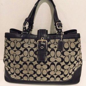 COACH Classic Signature Handbag Large Satchel